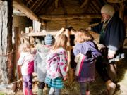 Children at Mary Arden's Farm with one of the Guides, looking at the Heritage breed sheep, photo by Amy Murrell